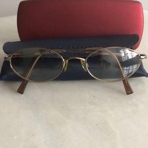 Small Anne Klein Oval eyeglass frames gold